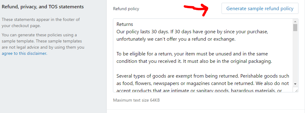 Generate Refund policy on shopify