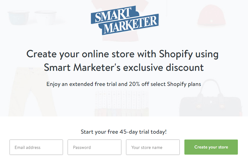 Shopify 45 Days trial Offer