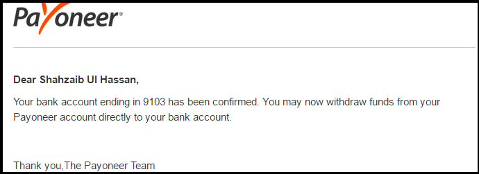 Bank attachment with payoneer confirmation