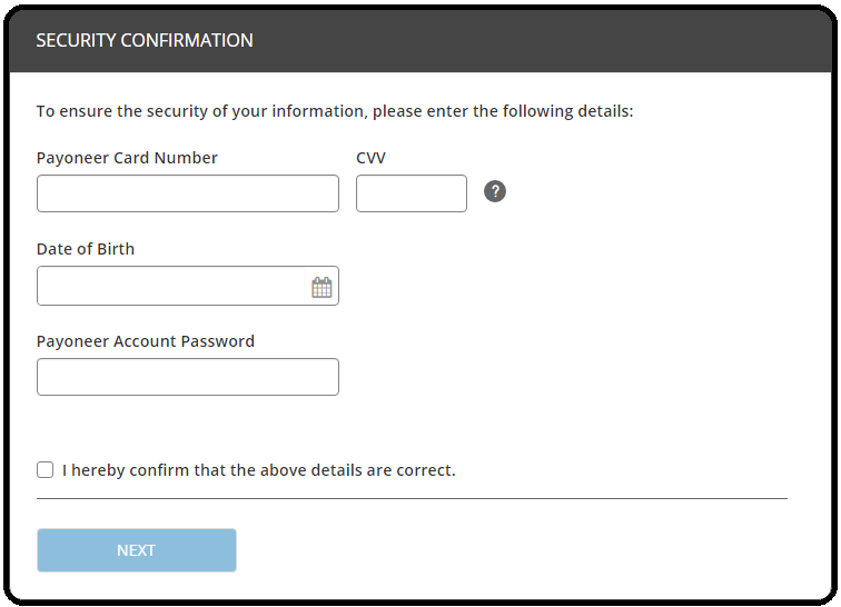 Payoneer security confirmation