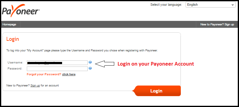 login on Payoneer