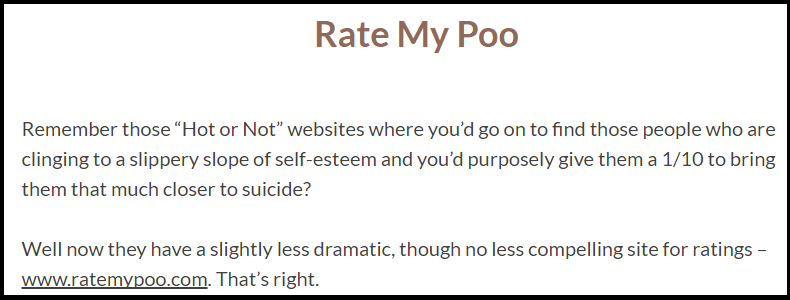 Rate my poo website