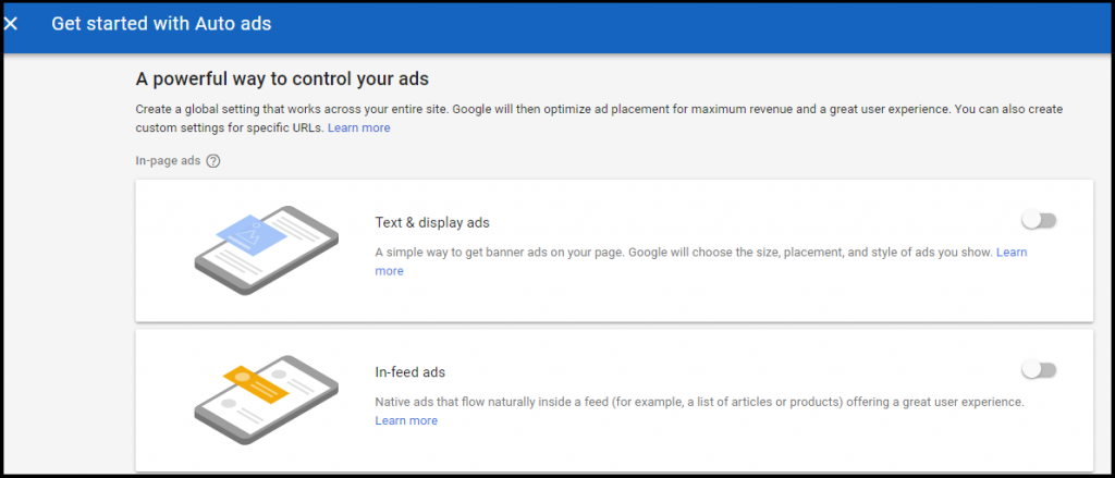 Google auto ads step 2
