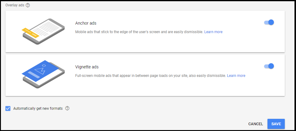 Turn Google adsense auto ads On