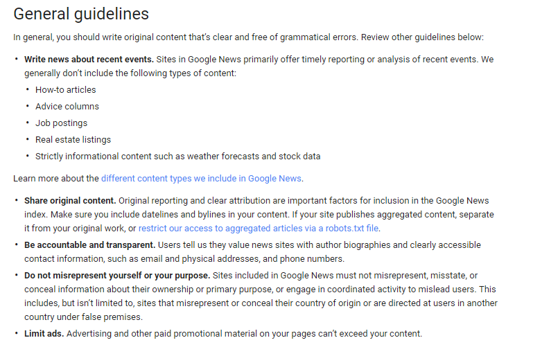 Google General Guidlines