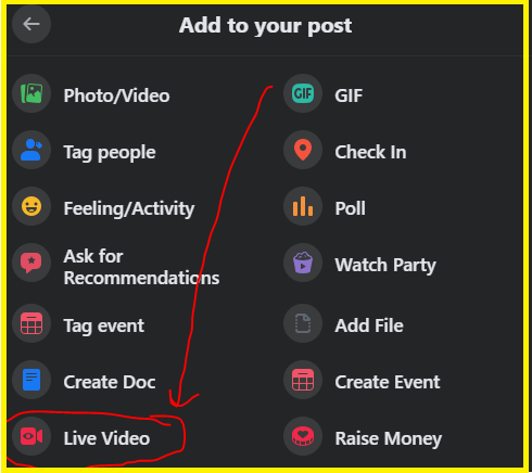 Facebook group live stream option