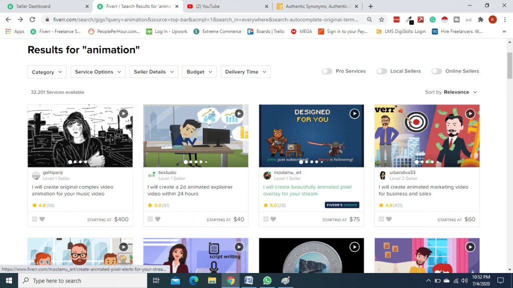 Animation Search on Fiverr