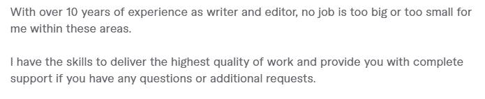 Fiverr Profile description for writers